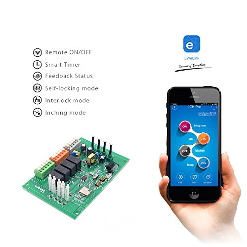 Interlock WiFi RF Smart Switch f/ür DIY Smart Home 1-16s Verz/ögerung im Tippmodus Sonoff 4CH Pro R2-4 Gang Inching//Selbsthemmung funktioniert mit Alexa und Google Assistant