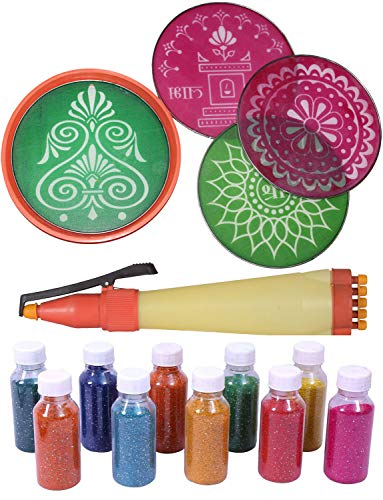 odishabazaar Rangoli Farben echt Rangoli Farben Kit + Rangoli Stift + 4designer Schablone Boden Art Decor 8x8 inch #150 -