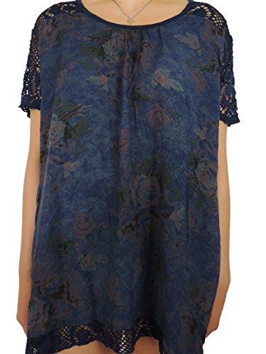 11 verschiedene Farben Damen Shirts mit Rosenmuster Größe 46 48 50 52 54 Dunkelblau