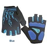 hankyky 1Paire Homme Half Finger Gants Anti Slip Football Escrime Fitness Workout respirante gants d'entraînement M bleu...