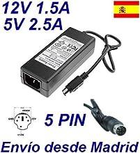 Cargador Corriente 12V 1.5A 5V 2.5A 5 PIN DIN Reemplazo Disco Duro Externo Philips Recambio Replacement