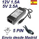 Cargador Corriente 12V 1.5A 5V 2.5A 5 PIN DIN Reemplazo Asian Power Devices APD DA-30C03 30941702 Recambio Replacement
