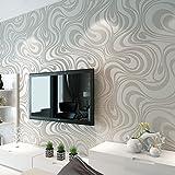 3D Abstrakt Wohnzimmer Tapeten Luxus Vliestapete Fernseher Hintergrund Geprägte Mustertapete Hanmero Vergolden Wandbild Rolle 27.6*330.7 inch (Weiß)