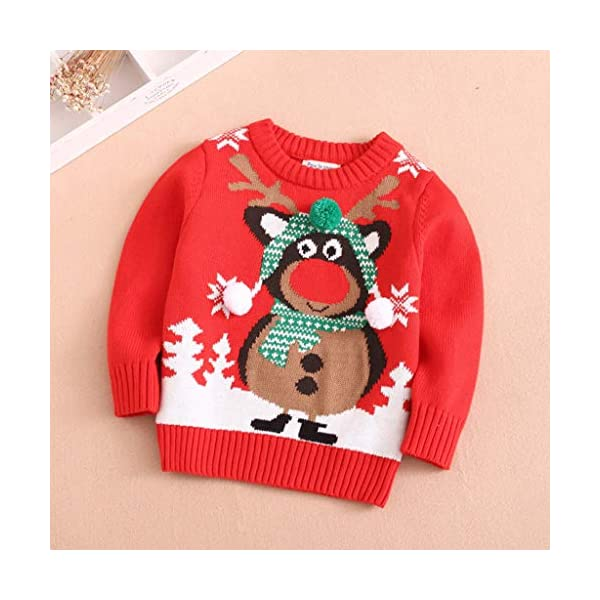 MEIbax Moda navideña Nueva Navidad Dibujos Animados Niño Niña Cuello Redondo Manga Larga Suéter Superior Suéter de Punto… 2
