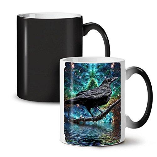 Wellcoda Surreal Galaxis Rabe Schwarz Farbwechsel Tee Kaffee Keramisch Becher 11 oz