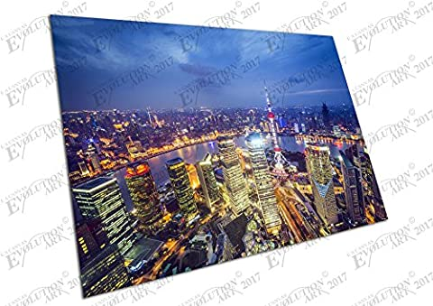 Impression sur toile Shanghai Chine vue aérienne Paysage urbain Skyline