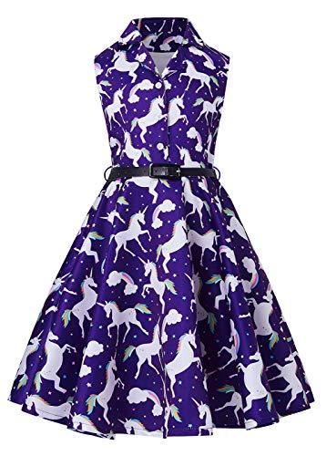 RAISEVERN Mädchenkleider, Schönes Einhornpferd Ärmelloses Schulterfreies Kleid Prinzessin - Prinzessin Kleider Für Teenager