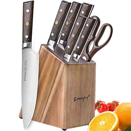 Emojoy Messerblock,Messerset, 7-TLG, Messer Set mit Holzgriff, scharf Küchenmesser Set, Kochmesser Set mit Schere, aus deutschem Edelstahl, Messerhalter