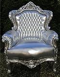 Casa Padrino Barock Sessel 'King' Silber/Silber Lederoptik