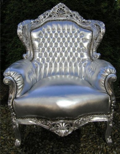 Barock Sessel Silber in Lederoptik Barock Sessel