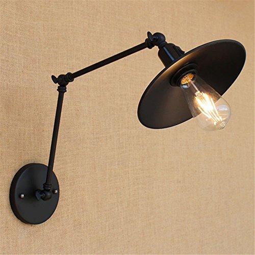 LIYAN minimalistische Wandleuchte Wandleuchte E26 /E27 Schlafzimmer Nachttischlampen Restaurant das Hotel lange Arm 20 +20 cm Doppel Abschnitt Retro schwarz matt Riemen wand Lichtschalter funktioniert -