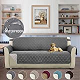 Non-Slip Waterproof Dog Cover Quilted Sofa Slipcover Pets and Kids Furniture Protector with Elastic Straps 3 Seater, Grey