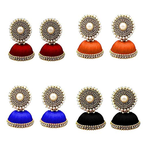 Tia Crafts Handmade Silk Thread Jhumki Earrings for Women Combo of 4 Earrings