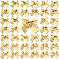 Sumind 72 Pack Mini Lazo de Árbol de Navidad 6 cm Adornos de Lazo de Cinta para Decoración Colgante de Árbol de Navidad (Dorado)