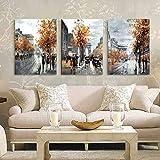 Pittura di arte della parete di 3 pannelli Home decor Immagini di Street City di paesaggio moderno Poster di opere d'arte a parete HD Stampa su tela per le decorazioni del soggiorno Nessuna cornice,M