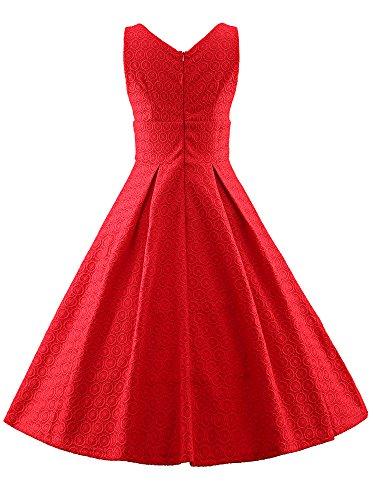 LUOUSE Damen Audrey Hepburn 50s Retro vintage Bubble Skirt Rockabilly Swing Evening kleid Dress V409-Rot