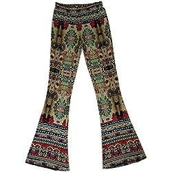 KINDOYO Nuevo Pantalones de campana apretados impresos vintage de la cintura media de las mujeres (Estilo-1, L)