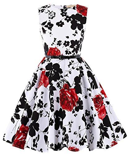Abend Kleid Party Kleid (Kate Kasin Maedchen Retro 50er Abend Party Kleid 6-7 Jahre KK250-2)