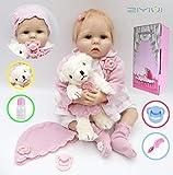 ZIYIUI 22 Pollici 55 cm Bambola Reborn Vinile Morbido in Silicone Bambino Realistico Indossa Pink Baby Lovely Baby Doll