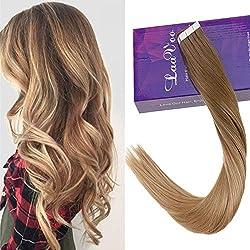 LaaVoo 14 Pouce/35cm Individuel Bande Adhesive Extension Cheveux Marron Clair Balayage Blond Fonce Droite Skin Weft Bresilien Haute Qualite Remy Cheveux Chataigne 50g/20pcs(#8/14)