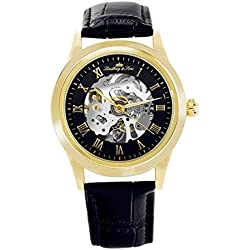 Lindberg&Sons - CHP199 - wrist watch for men - skeleton - automatic movement - analog display - black leather bracelet