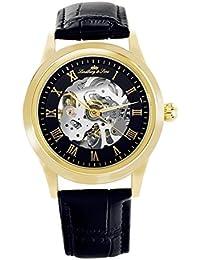 Lindberg & Sons CHP199 - Reloj análogico para hombre de pulsera (esqueleto automático), correa de cuero negra