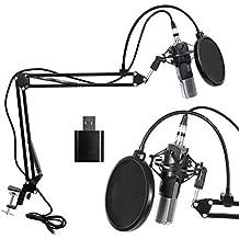 Micrófono Condensador 3,5 mm XLR Profesional Kit de Radiodifusión Micrófono de condensador para Estudio de Grabacion de la Computadora con Soporte de Micrófono Ajustable Suspensión Brazo de tijera