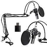 XRL zu 3.5 mm Kondensator-Mikrofon Kit, Schall Podcast Studio Rundfunk Microphone für Computer mit Popschutz, Soundkarte und Verstellbarem Mikrofonhalter Mikrofonarm Mikrofonständer Mikrofon Sets
