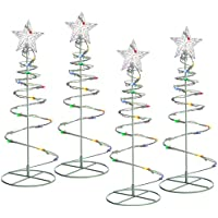 WeRChristmas Spiral Trees Christmas Lighting 8 Function Controller, 55 cm - Multi-Colour, Set of 4