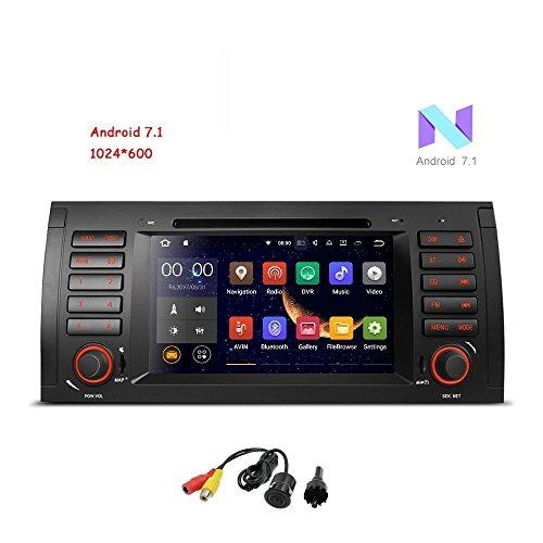 Freeauto Android 7.1stéréo de voiture pour BMW E39E53M5X5de voiture radio Audio 17,8cm Quad Core GPS lecteur de DVD écran multi-touch radio CD lecteur de DVD GPS vidéo 1080p duplication d'écran OBD2WIFI Caméra arrière