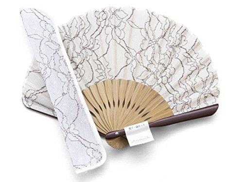Handfächer Mignon Weiß, Bambus Holz und Viscose, Seide und Polyester, Premium-Qualität ideal als Geschenk mit Stoff Etui und (Kostüme Muster Tanzabend)