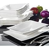 Malacasa, Serie Flora, Cremeweiß Porzellan Tafelservice 12 Teiligen Set Kombiservice Geschirrset mit je 6 Speiseteller und 6 Suppenteller für 6 Personen