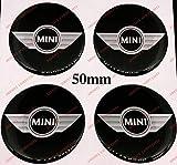 Adesivi coprimozzi Mini Cooper, 50mm, Wing Design, Effetto 3D, Sticker resinati