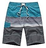 Uomo Costume da Bagno Pantaloncini da Bagno Calzoncini da Spiaggia da Surfe da Mare a Righe Bermuda Boxer da Nuoto Outdoor Casual Pantaloni Corti Esitivi Asciugatura Veloce - Blu - Taglia M