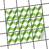 creatisto Bad-Fliesen Fliesen   Design-Dekorsticker Küchenfolie Badgestaltung   10x10 cm Muster Ornament 3D Cubes - Grün - 9 Stück