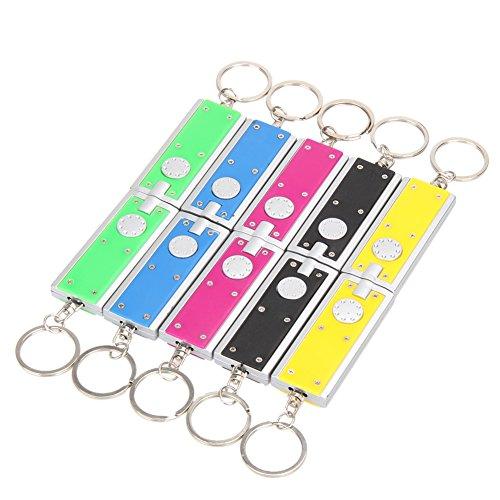 Demiawaking 10 x Mini LED Leuchte Fackel Camping Taschenlampe Ring Schlüsselanhänger Lampe (Zufällige Farben)