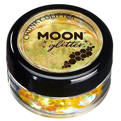 Paillettes rondes irisées par Moon Glitter (Paillette Lune) - 100% de paillettes cosmétique pour le visage, le corps, les ongles, les cheveux et les lèvres - 3g - Jaune