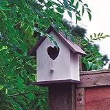 Shine Nichoir pour oiseaux blanc avec entrée en forme de cœur, Tient seul ou peut s'accrocher à un mur