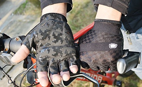 Lmeno-Half-Finger-Gloves-Cycling-Mountain-Bike-Gloves-Fingerless-Non-slip-earthquake-Light-Silicone-Gel-Pad-Sport-Mittens-Outdoor-MotorcycleBicycle-RidingClimbingCycle-Gloves-Size-MLXLBlack-RedBlue