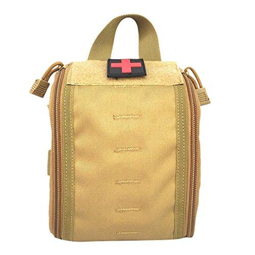 MagiDeal Molle Erste Hilfe Tasche Taktische Medizinische Notfalltasche für Outdoor Sport Reisen Notfall Pack mit Handgriff, Outdoor Handtasche Braun