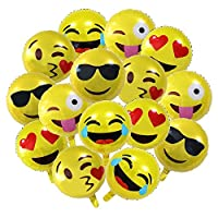 Meowoo Birthday Decorations Emoji Party Balloons, 13 pcs Emoticon Foil Helium Balloons for Birthday Weddings Party Anniversary Christmas Decorations