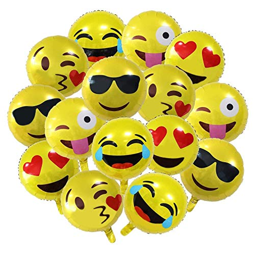 Emoji Luftballon Wiederverwendbare 45cm Folie Helium Luftballons für Geburtstagsfeier Supplies Party Dekoration Nette Gelb Emoji Gesichter Set(26 Stück)-Meowoo (Party Supplies Gelbe)