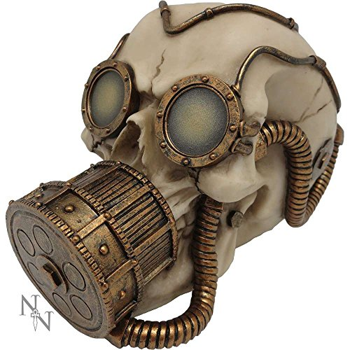 Cráneo con máscara de gas y gafas