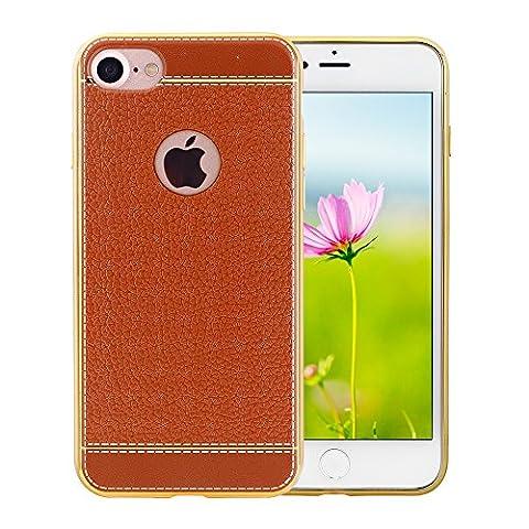 N. Oranie iPhone 7étui en TPU souple 11,9cm Grain cuir coque arrière avec cadre plaqué Bumper antichoc Etui Flexible pour Apple iPhone 711,9cm, marron, iPhone 7_4.7