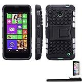 4in1 Hybrid Custodia per - Nokia Lumia 630 / 630 Dual Sim - antiurto telefono cellulare resistente caso della copertura con supporto stand / Protector doppio strato morbido silicone Tpu in NERO + 1xStilo + 1x Pellicola Protezione