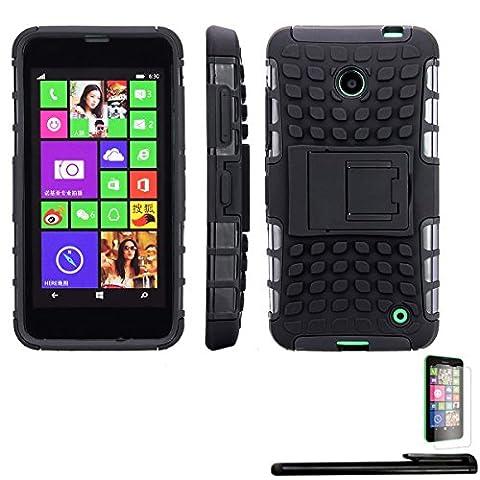 4in1 Hybrid Case für Nokia Lumia 630 / 630 Dual Sim - Handy Tasche Hülle Outdoor Bumper mit Ständer / Dual-Layer Silikon Tpu, Schwarz + 1x Displayfolie + 1xTouchpen
