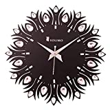 #9: Amazon Brand - Solimo 11.25-inch Wooden Wall Clock - Designer Flower (Step Movement, Black Frame)