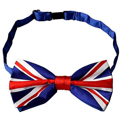 Kuou Herren-Fliege aus seidigem Satin, mit britischem Flaggen-Motiv, verstellbar, vorgebunden, für üppige und klassische Smoking-Partys, 1 Stück