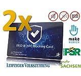 RFID Blocker Karte von MakakaOnTheRun® (Doppelpack, 2019): 0,9mm dünn, Keine Alarme, CE-konform. Eine einzige Karte benötigt: Elektronik schützt bis zu 12 Kreditkarten/EC-Karten Davor & dahinter