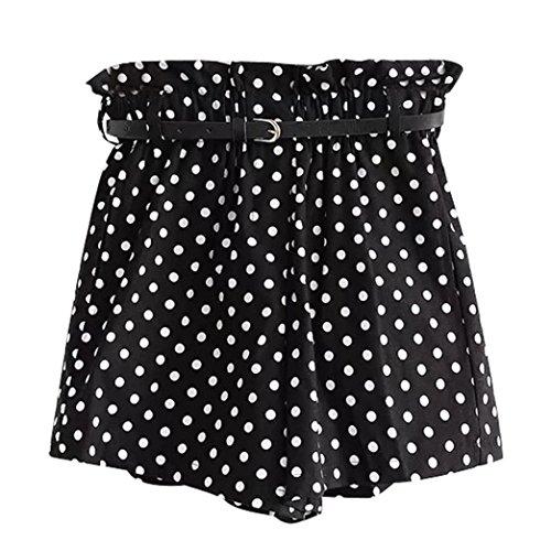 ESAILQ Shorts Women Retro Dot Print Casual Elastic Waist Pocket Pants with Belt